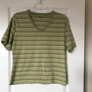Woolrich Short Sleeve V-neck Stretch Green L